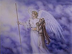 The Angel with the measuring rod taking John to see the new Jerusalem (REV. 21:9-10)